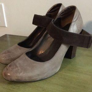 Distressed leather heels